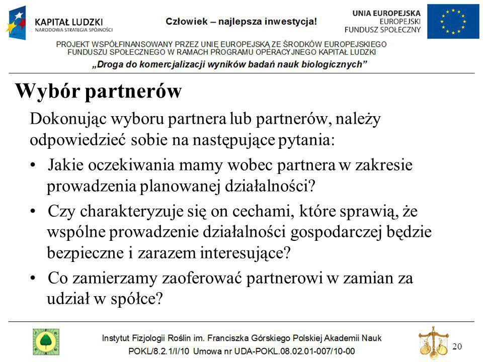 Wybór partnerów Dokonując wyboru partnera lub partnerów, należy odpowiedzieć sobie na następujące pytania: