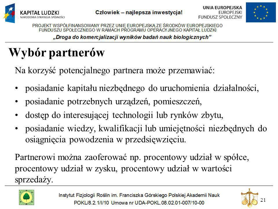 Wybór partnerów Na korzyść potencjalnego partnera może przemawiać: