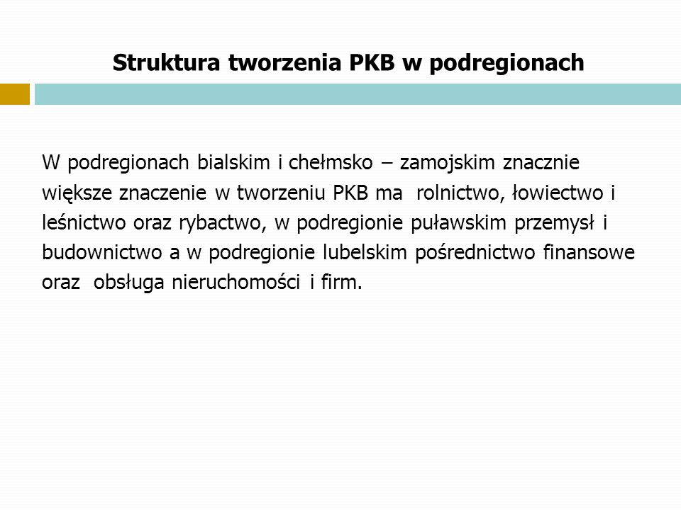 Struktura tworzenia PKB w podregionach