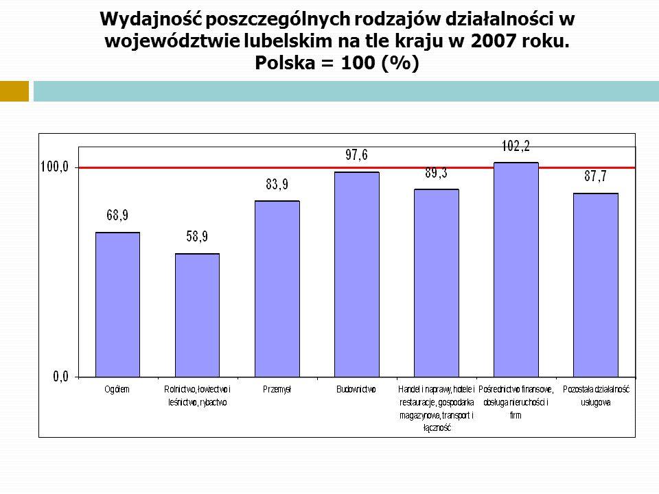Wydajność poszczególnych rodzajów działalności w województwie lubelskim na tle kraju w 2007 roku.