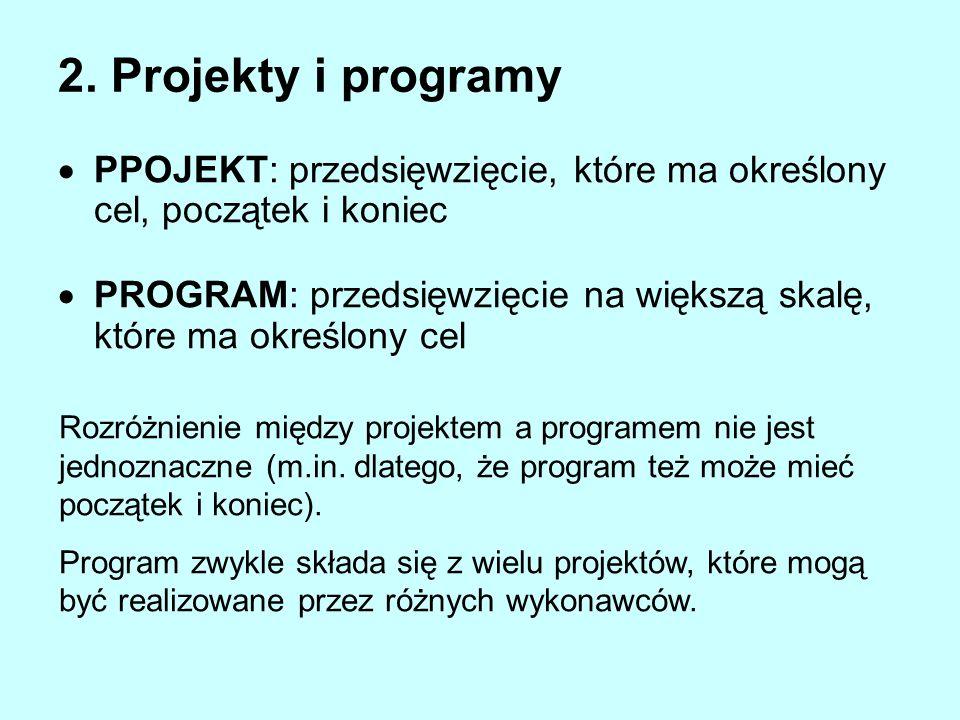 2. Projekty i programy PPOJEKT: przedsięwzięcie, które ma określony cel, początek i koniec.
