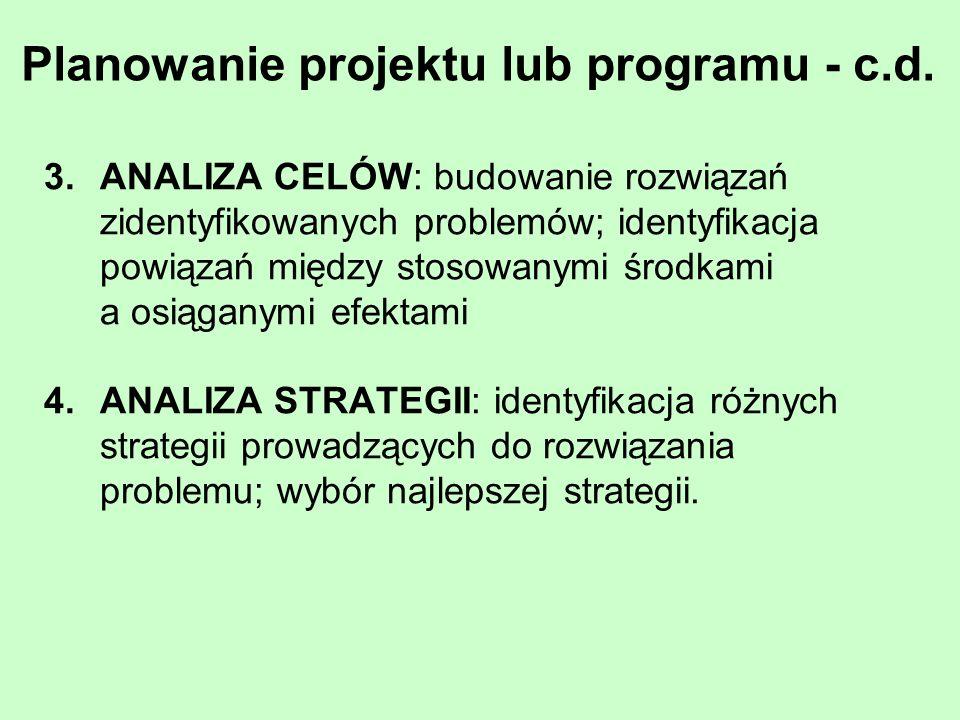 Planowanie projektu lub programu - c.d.
