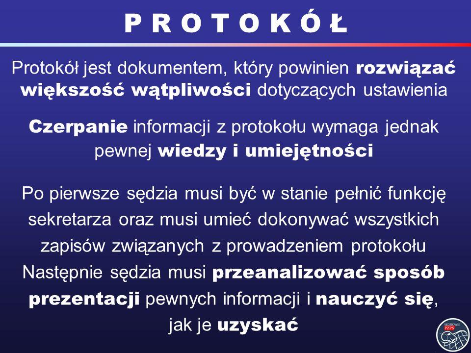 P R O T O K Ó Ł Protokół jest dokumentem, który powinien rozwiązać większość wątpliwości dotyczących ustawienia.