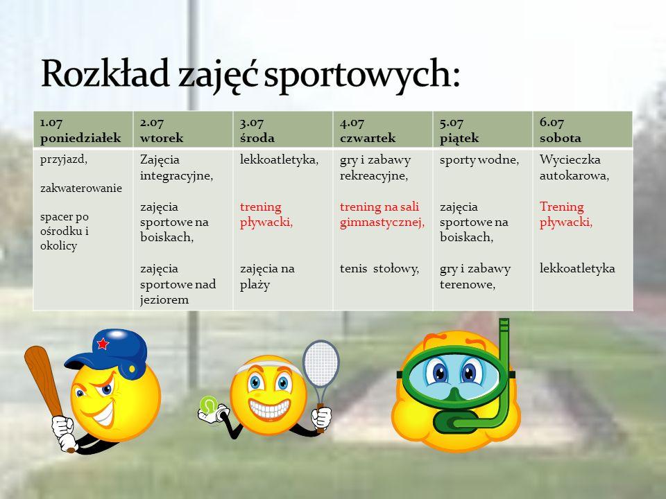 Rozkład zajęć sportowych: