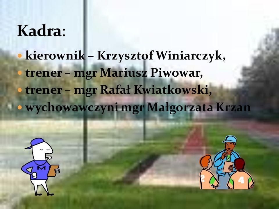 Kadra: kierownik – Krzysztof Winiarczyk, trener – mgr Mariusz Piwowar,