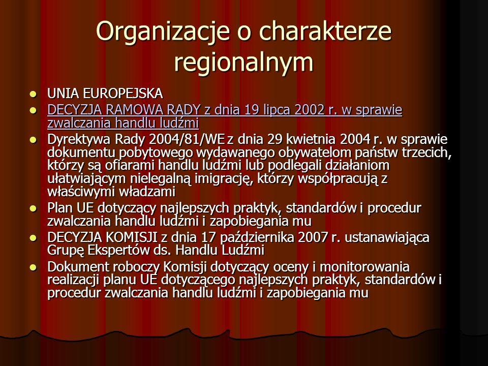 Organizacje o charakterze regionalnym