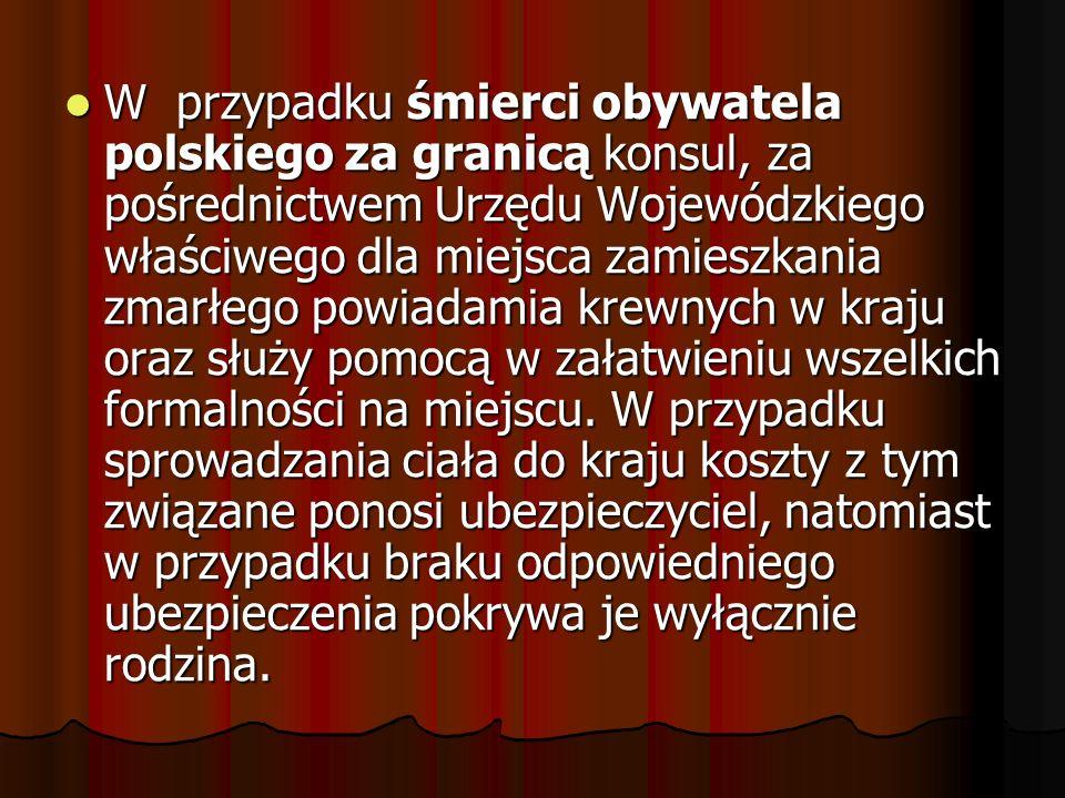 W przypadku śmierci obywatela polskiego za granicą konsul, za pośrednictwem Urzędu Wojewódzkiego właściwego dla miejsca zamieszkania zmarłego powiadamia krewnych w kraju oraz służy pomocą w załatwieniu wszelkich formalności na miejscu.