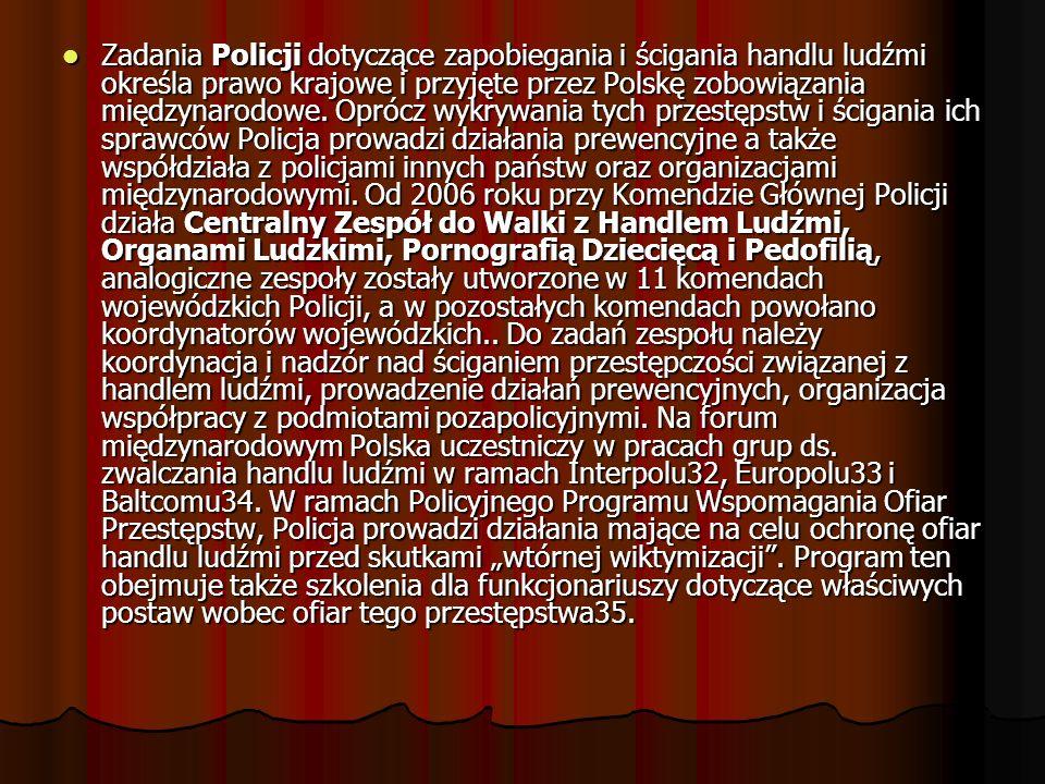 Zadania Policji dotyczące zapobiegania i ścigania handlu ludźmi określa prawo krajowe i przyjęte przez Polskę zobowiązania międzynarodowe.