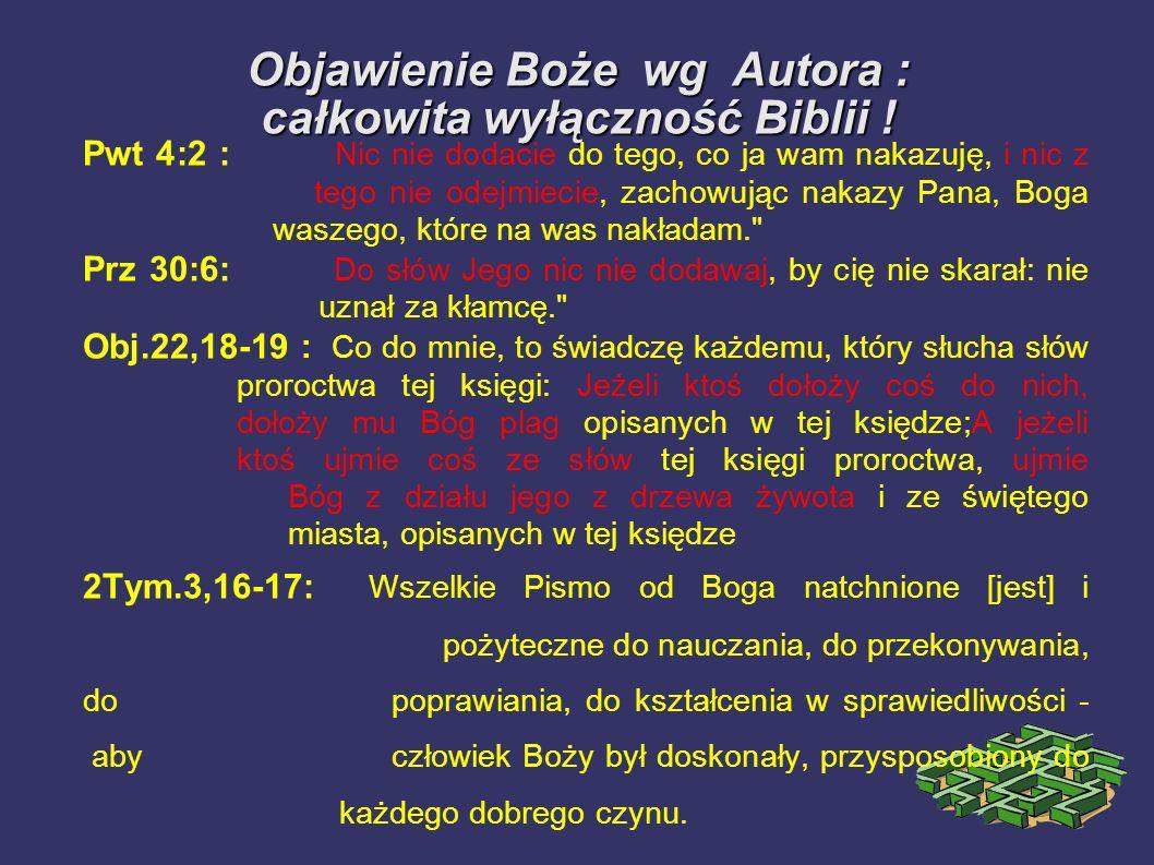 Objawienie Boże wg Autora : całkowita wyłączność Biblii !