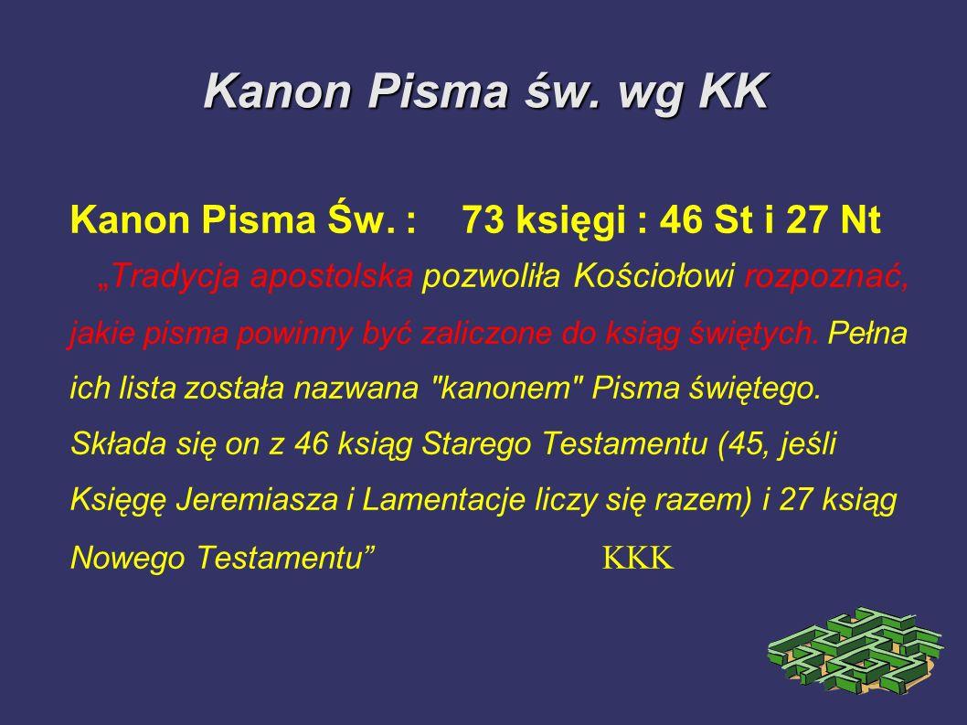 Kanon Pisma św. wg KK Kanon Pisma Św. : 73 księgi : 46 St i 27 Nt