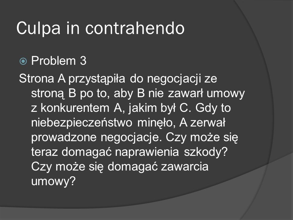 Culpa in contrahendo Problem 3