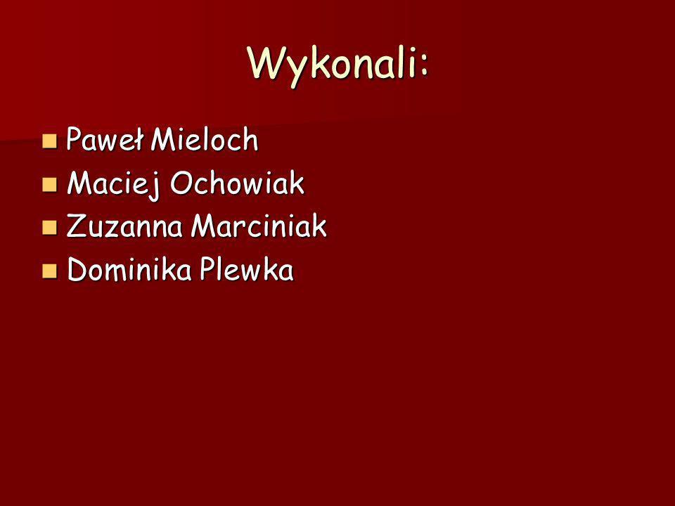 Wykonali: Paweł Mieloch Maciej Ochowiak Zuzanna Marciniak