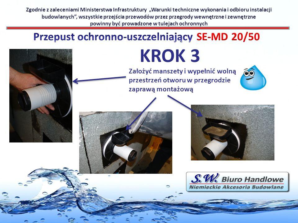 KROK 3 Przepust ochronno-uszczelniający SE-MD 20/50