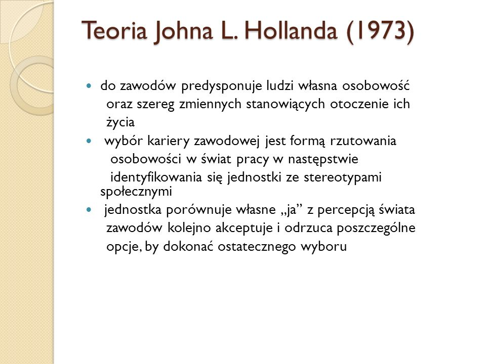 Teoria Johna L. Hollanda (1973)