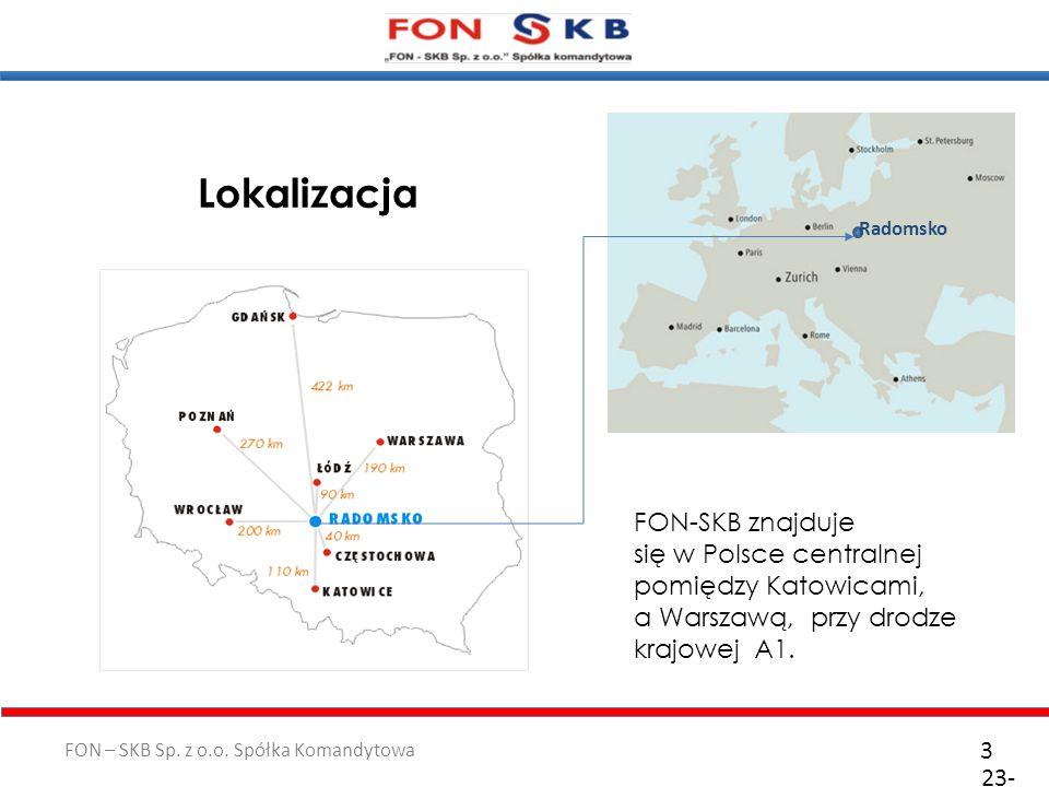 Lokalizacja Radomsko. FON-SKB znajduje się w Polsce centralnej pomiędzy Katowicami, a Warszawą, przy drodze krajowej A1.