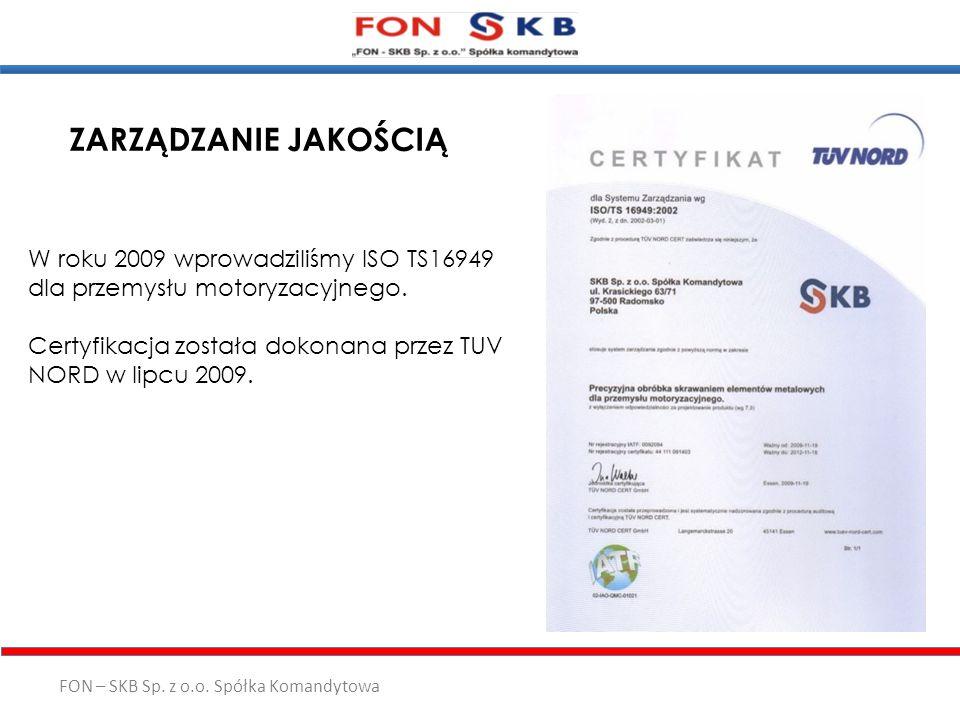ZARZĄDZANIE JAKOŚCIĄ W roku 2009 wprowadziliśmy ISO TS16949 dla przemysłu motoryzacyjnego.