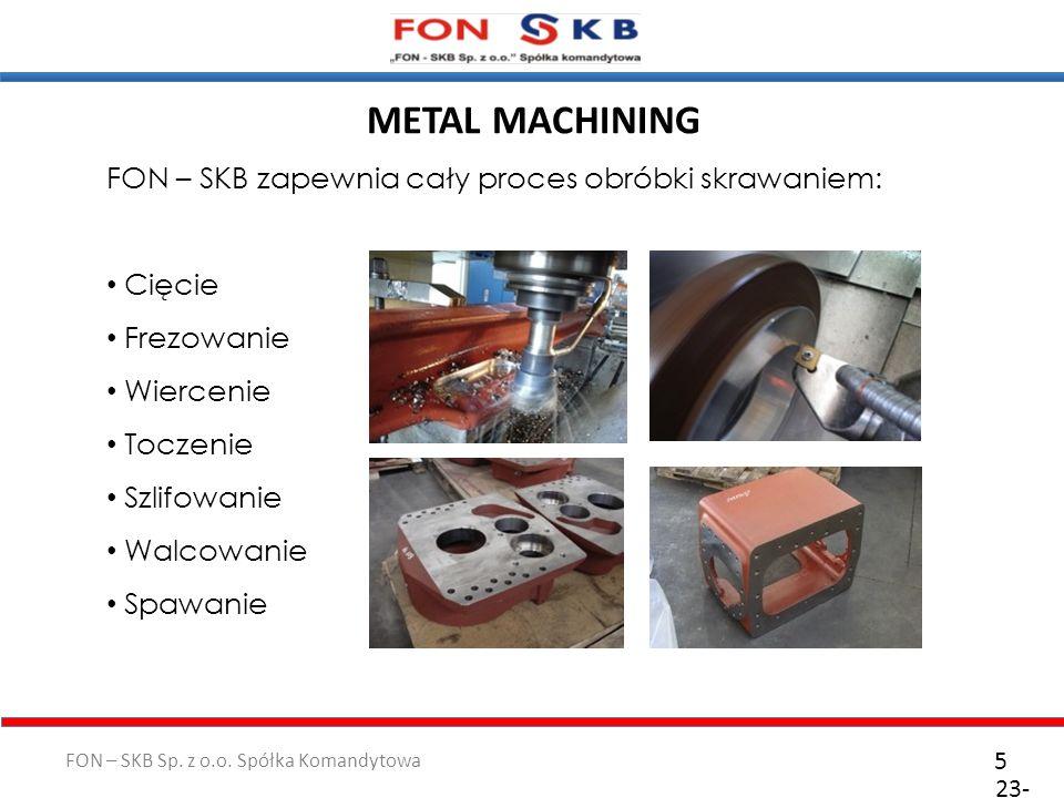 METAL MACHINING FON – SKB zapewnia cały proces obróbki skrawaniem: