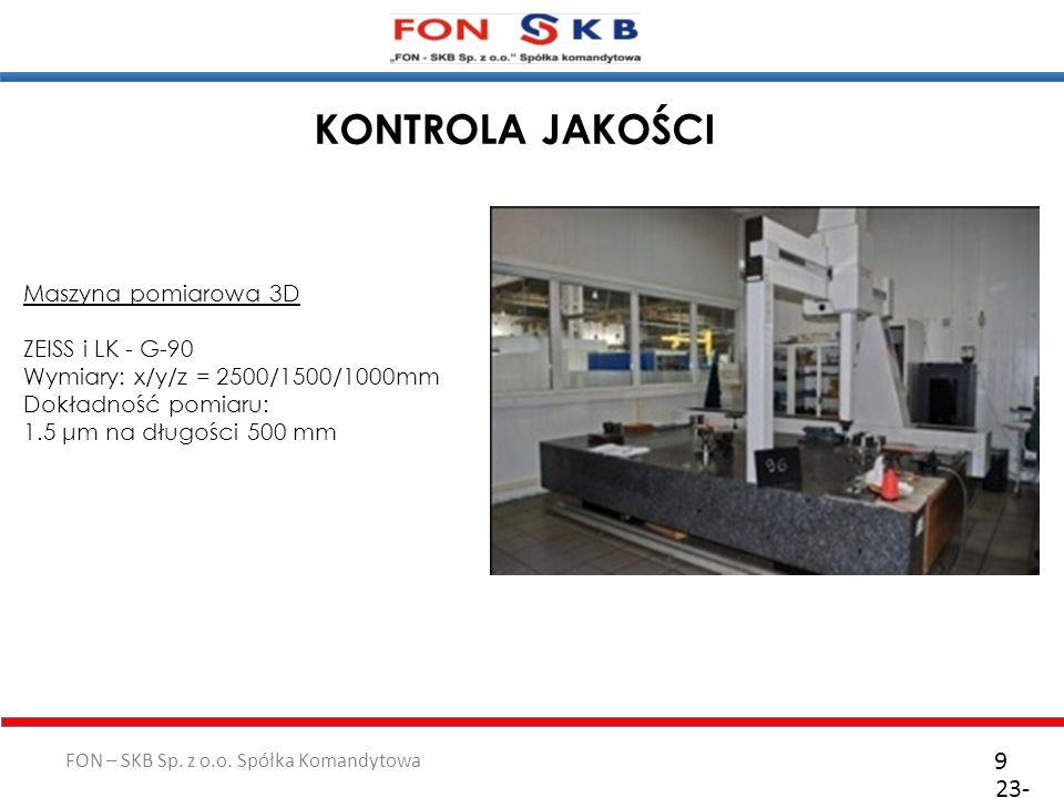 KONTROLA JAKOŚCI 9 23-10-2011 Maszyna pomiarowa 3D ZEISS i LK - G-90