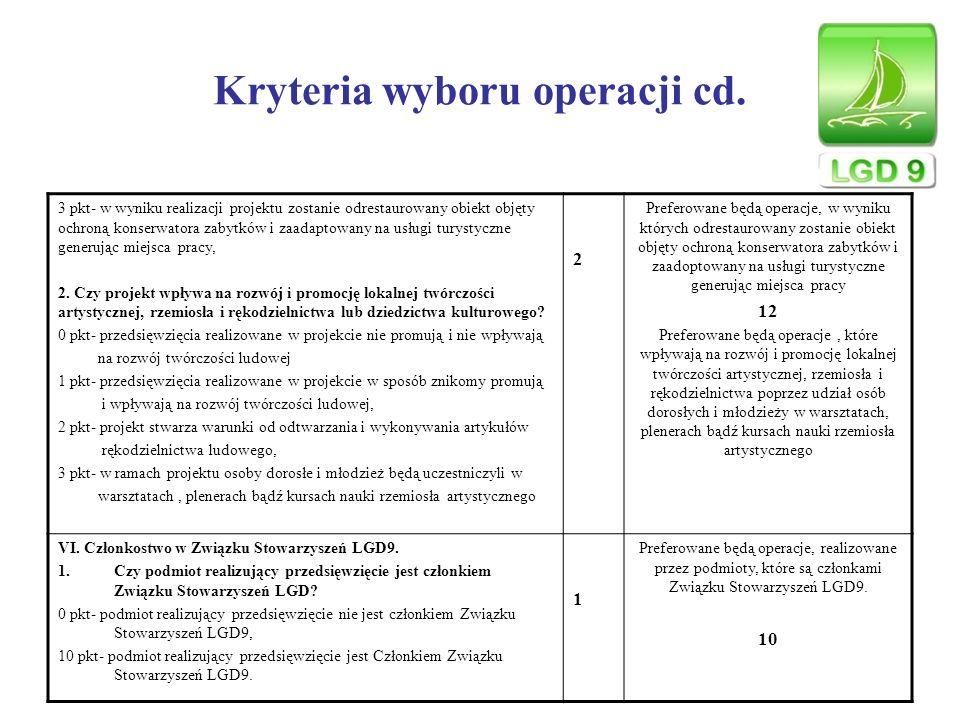 Kryteria wyboru operacji cd.