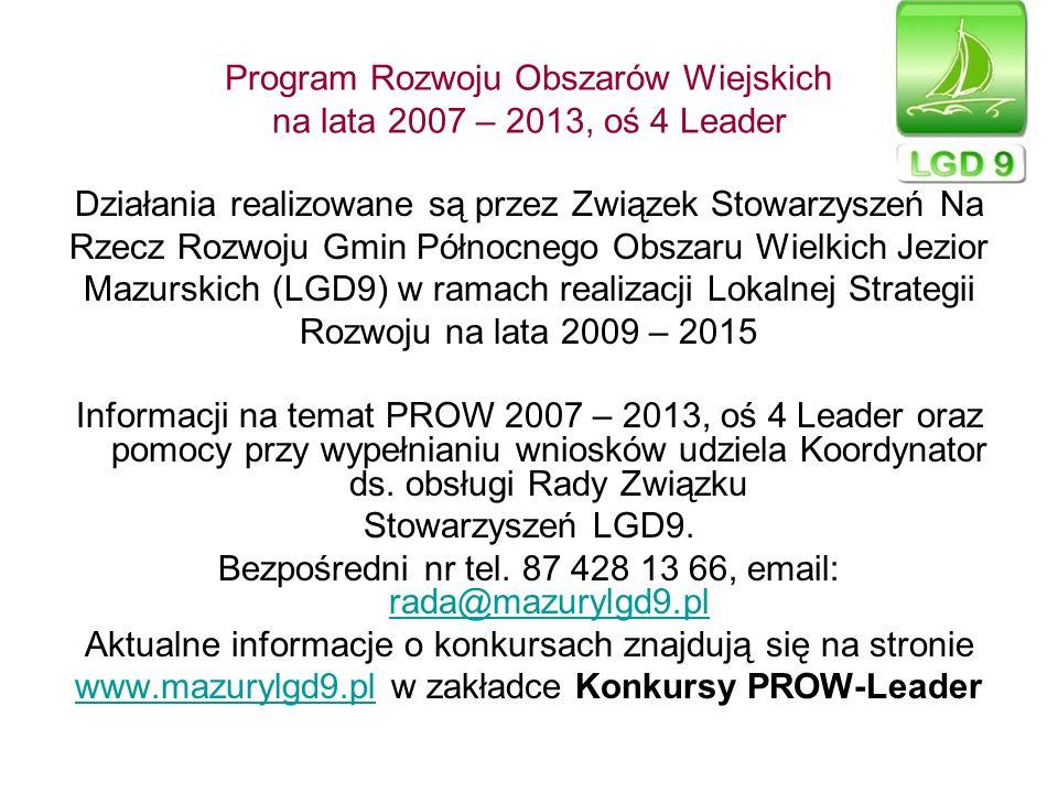 Program Rozwoju Obszarów Wiejskich na lata 2007 – 2013, oś 4 Leader