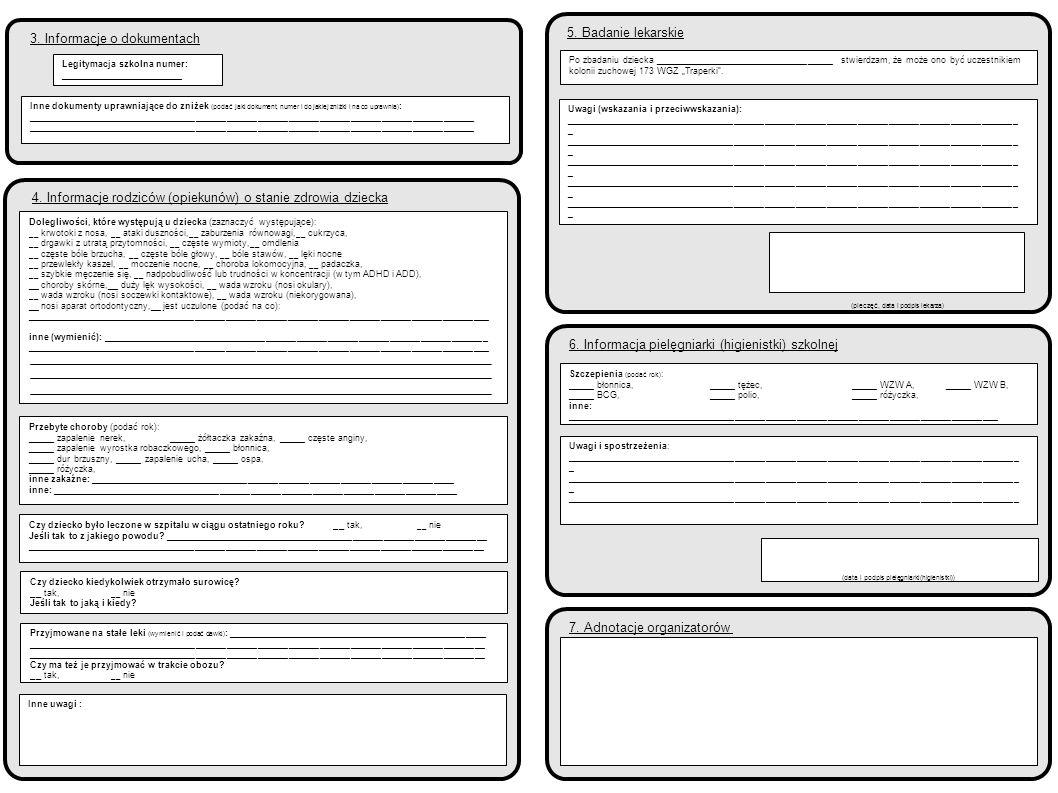 2 5. Badanie lekarskie 3. Informacje o dokumentach
