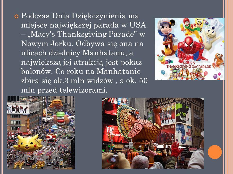 """Podczas Dnia Dziękczynienia ma miejsce największej parada w USA – """"Macy's Thanksgiving Parade w Nowym Jorku."""