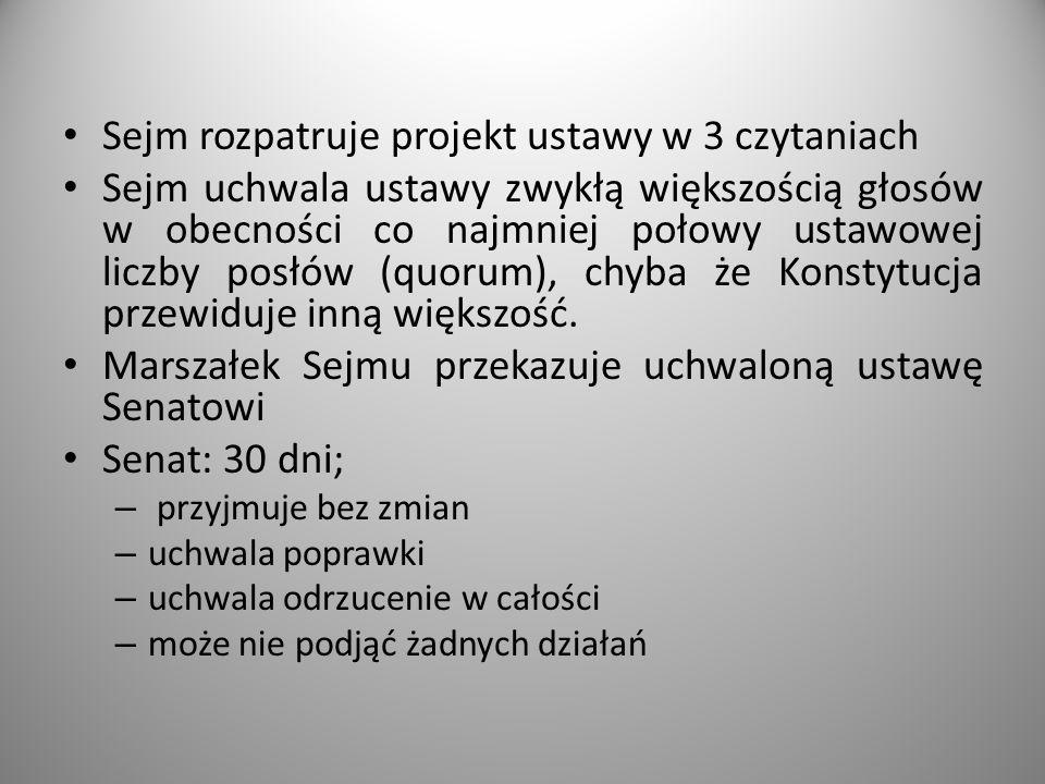 Sejm rozpatruje projekt ustawy w 3 czytaniach