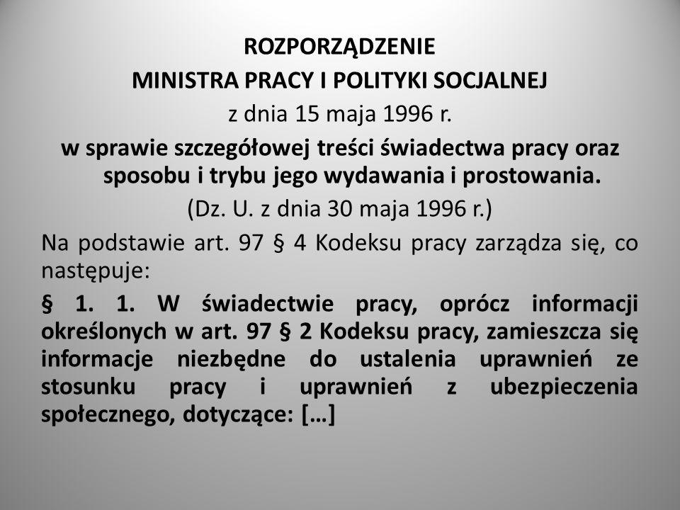 MINISTRA PRACY I POLITYKI SOCJALNEJ