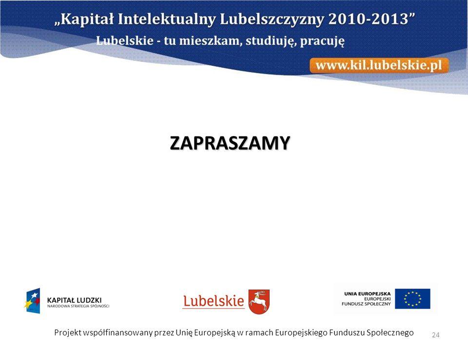 ZAPRASZAMY Projekt współfinansowany przez Unię Europejską w ramach Europejskiego Funduszu Społecznego.