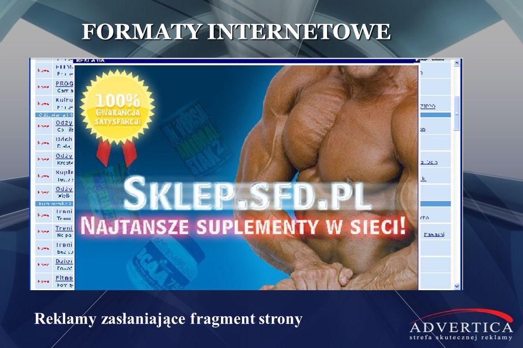 FORMATY INTERNETOWE Reklamy zasłaniające fragment strony