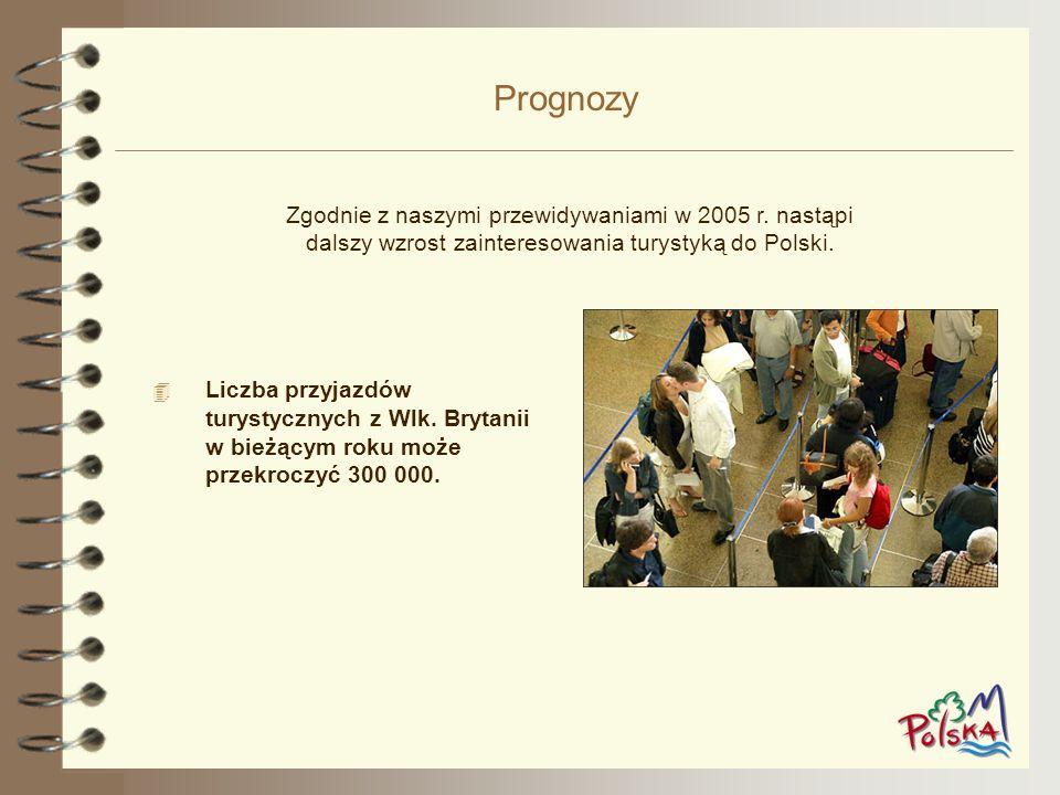 Prognozy Zgodnie z naszymi przewidywaniami w 2005 r. nastąpi dalszy wzrost zainteresowania turystyką do Polski.