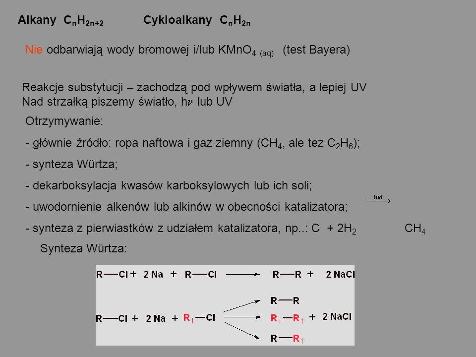Alkany CnH2n+2 Cykloalkany CnH2n