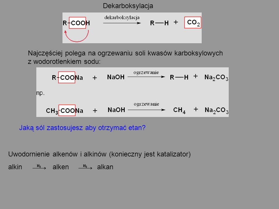 Dekarboksylacja Najczęściej polega na ogrzewaniu soli kwasów karboksylowych z wodorotlenkiem sodu:
