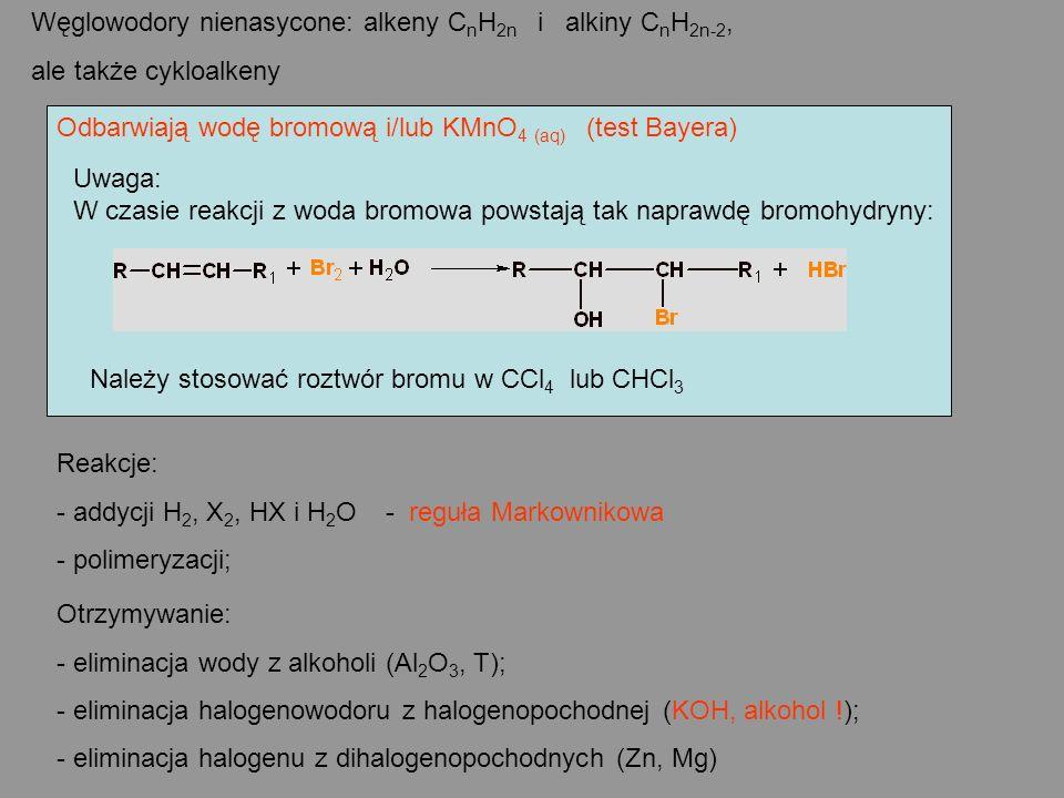 Węglowodory nienasycone: alkeny CnH2n i alkiny CnH2n-2,