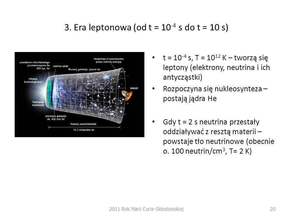 3. Era leptonowa (od t = 10-4 s do t = 10 s)