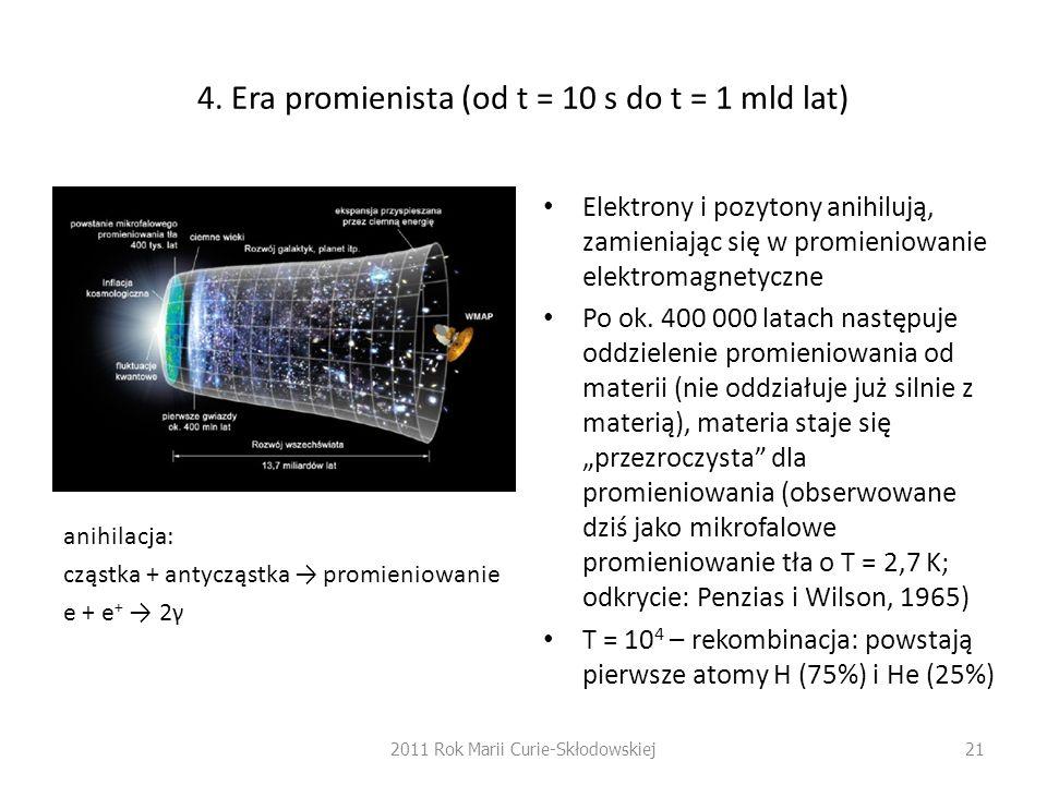 4. Era promienista (od t = 10 s do t = 1 mld lat)