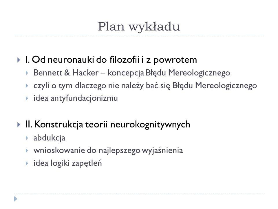Plan wykładu I. Od neuronauki do filozofii i z powrotem