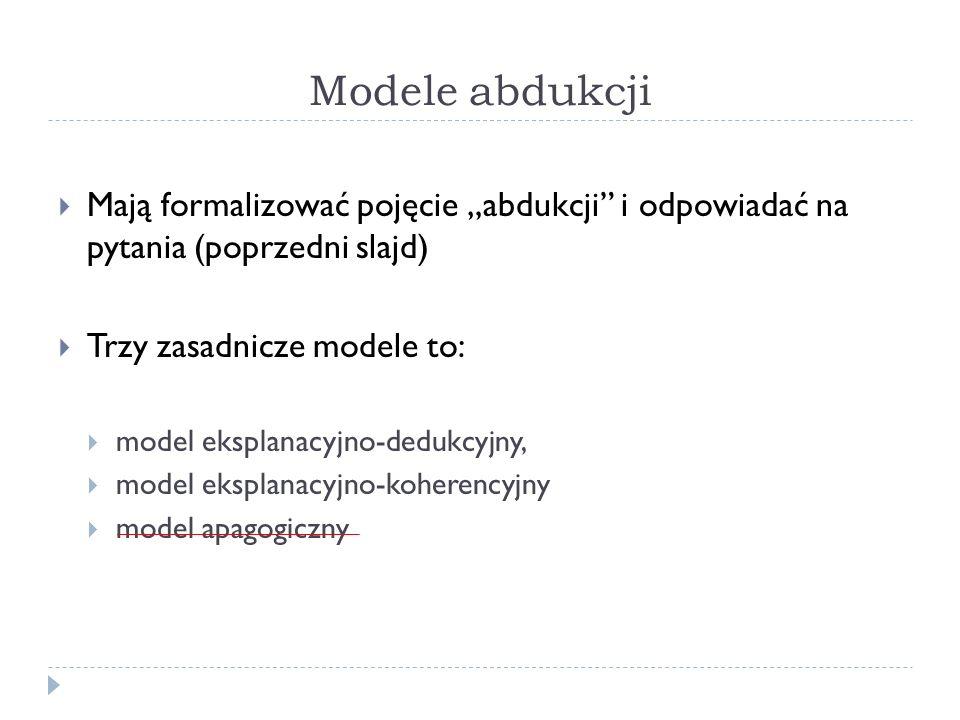 """Modele abdukcji Mają formalizować pojęcie """"abdukcji i odpowiadać na pytania (poprzedni slajd) Trzy zasadnicze modele to:"""