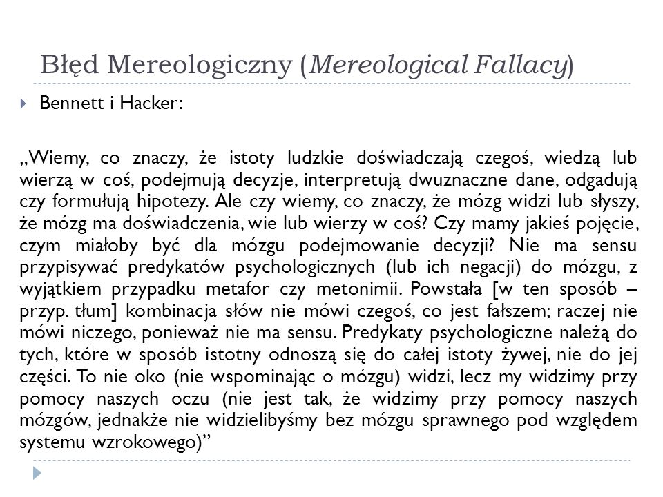 Błęd Mereologiczny (Mereological Fallacy)