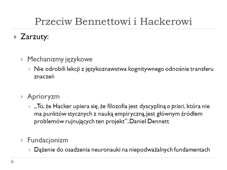 Przeciw Bennettowi i Hackerowi