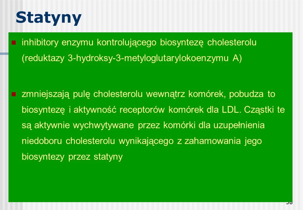 Statyny inhibitory enzymu kontrolującego biosyntezę cholesterolu (reduktazy 3-hydroksy-3-metyloglutarylokoenzymu A)