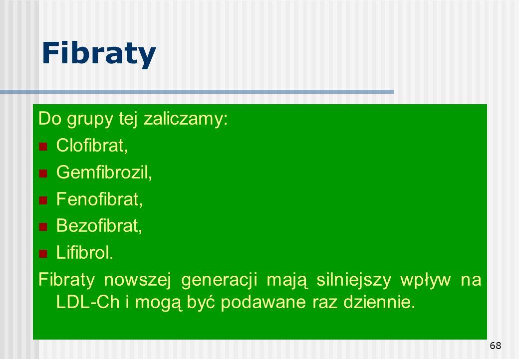 Fibraty Do grupy tej zaliczamy: Clofibrat, Gemfibrozil, Fenofibrat,