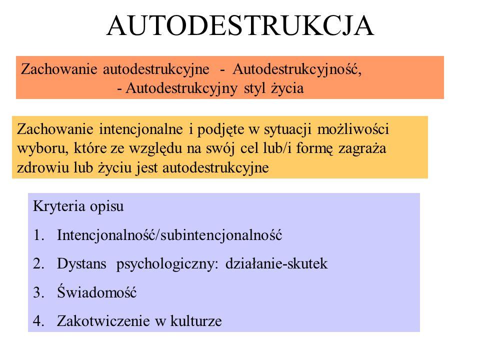 AUTODESTRUKCJA Zachowanie autodestrukcyjne - Autodestrukcyjność,