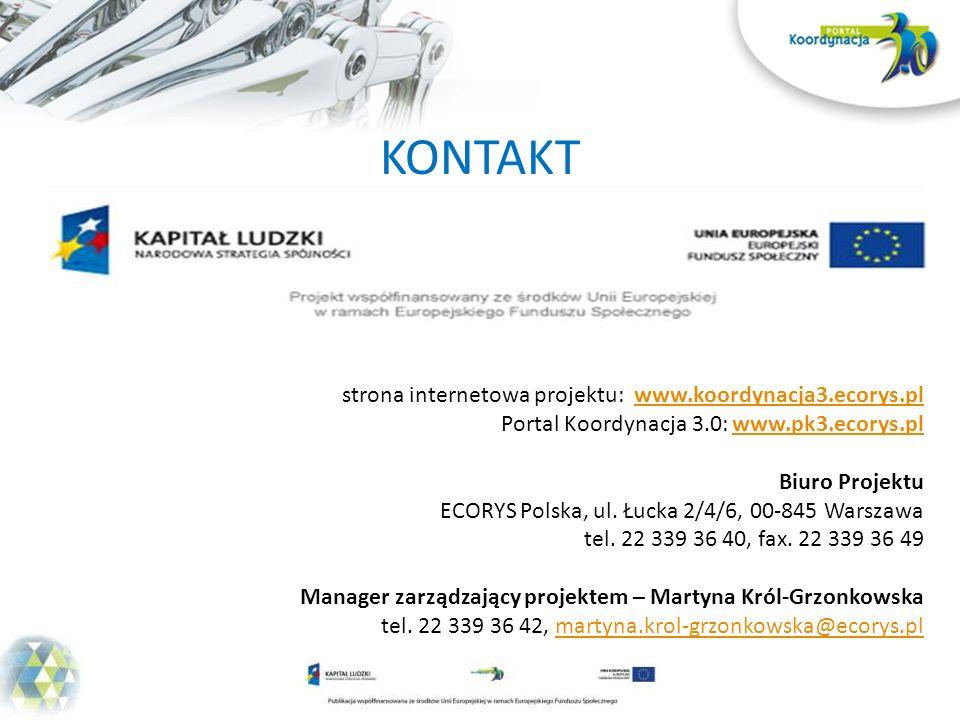 KONTAKT strona internetowa projektu: www.koordynacja3.ecorys.pl