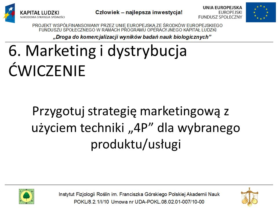 6. Marketing i dystrybucja ĆWICZENIE
