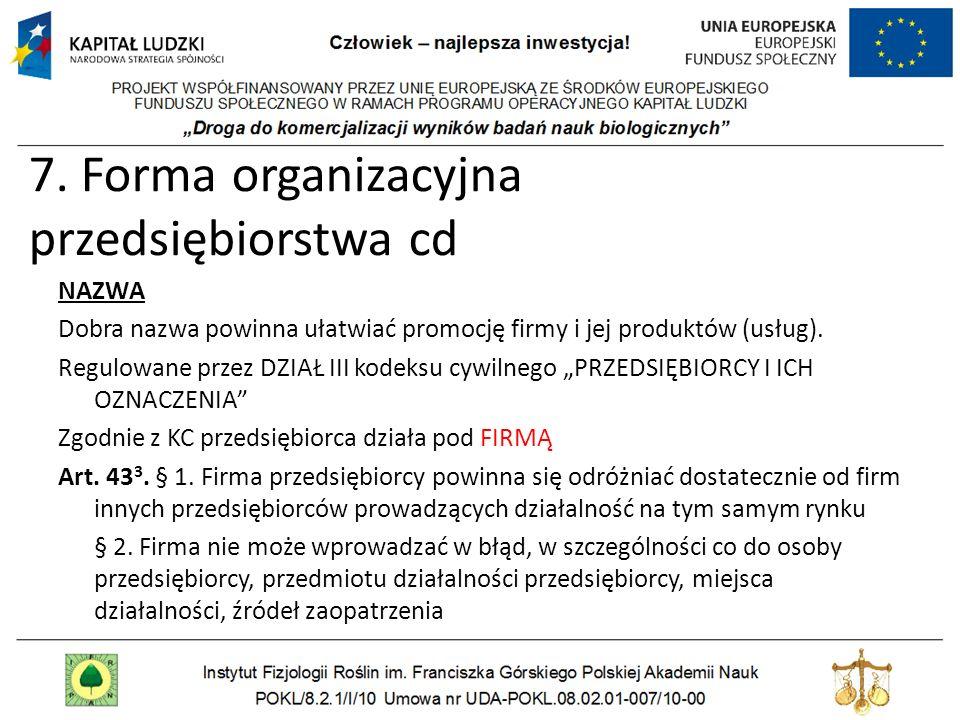 7. Forma organizacyjna przedsiębiorstwa cd