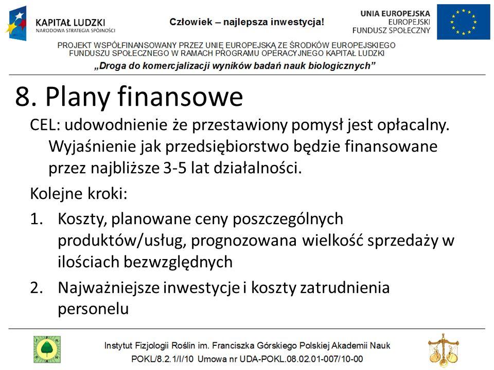 8. Plany finansowe