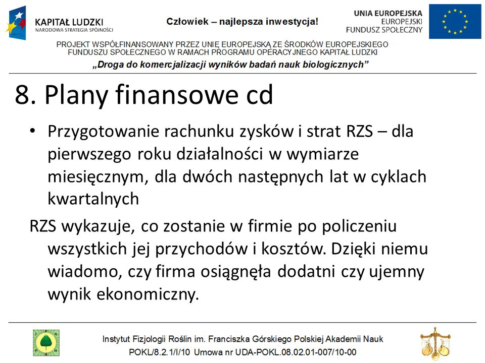 8. Plany finansowe cd