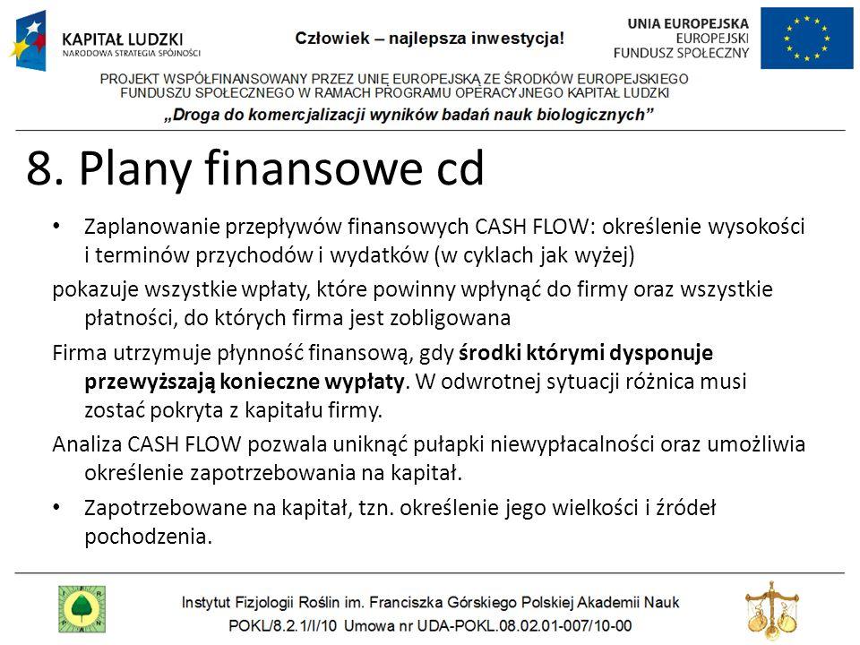 8. Plany finansowe cd Zaplanowanie przepływów finansowych CASH FLOW: określenie wysokości i terminów przychodów i wydatków (w cyklach jak wyżej)