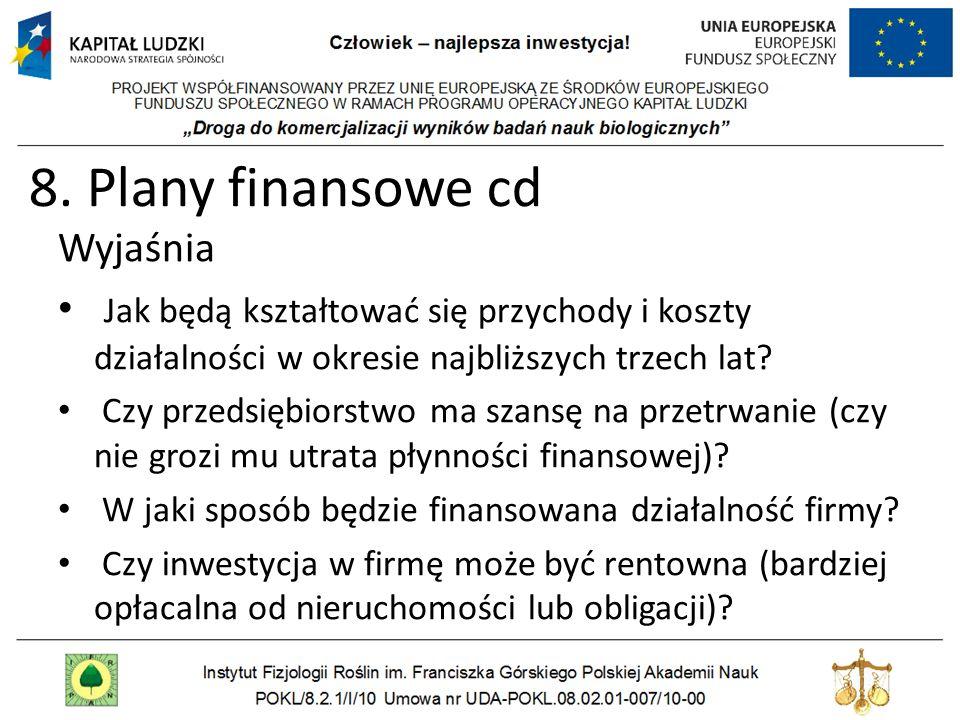 8. Plany finansowe cd Wyjaśnia